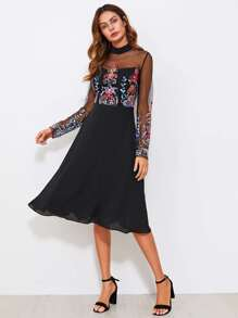 Embroidered Mesh Sweetheart Dress