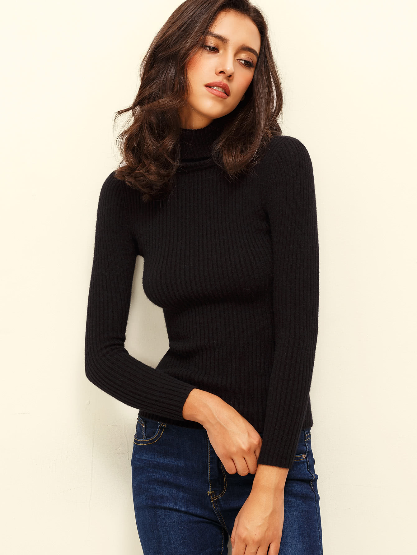 Black Turtle Neck Long Sleeve Knitted T Shirt