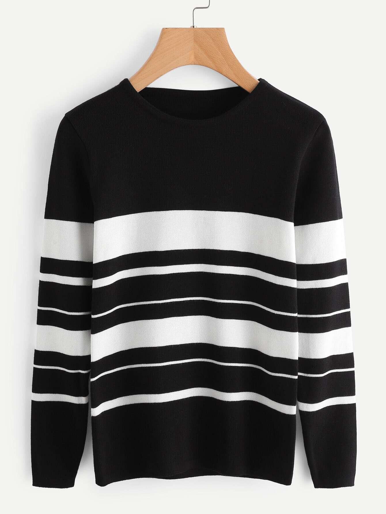 Striped Jersey Sweater sweater170824102