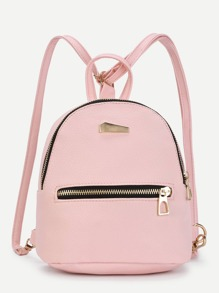 Metal Detail Front Zipper PU Backpack