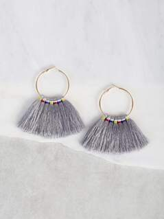 Multi Color Tassel Hoop Earrings GREY