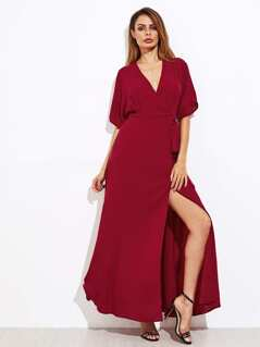 Self Tie Surplice Wrap Dress