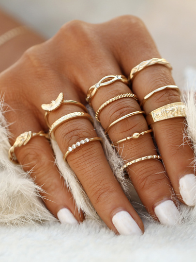 Fingerring Set mit Dekoration -golden