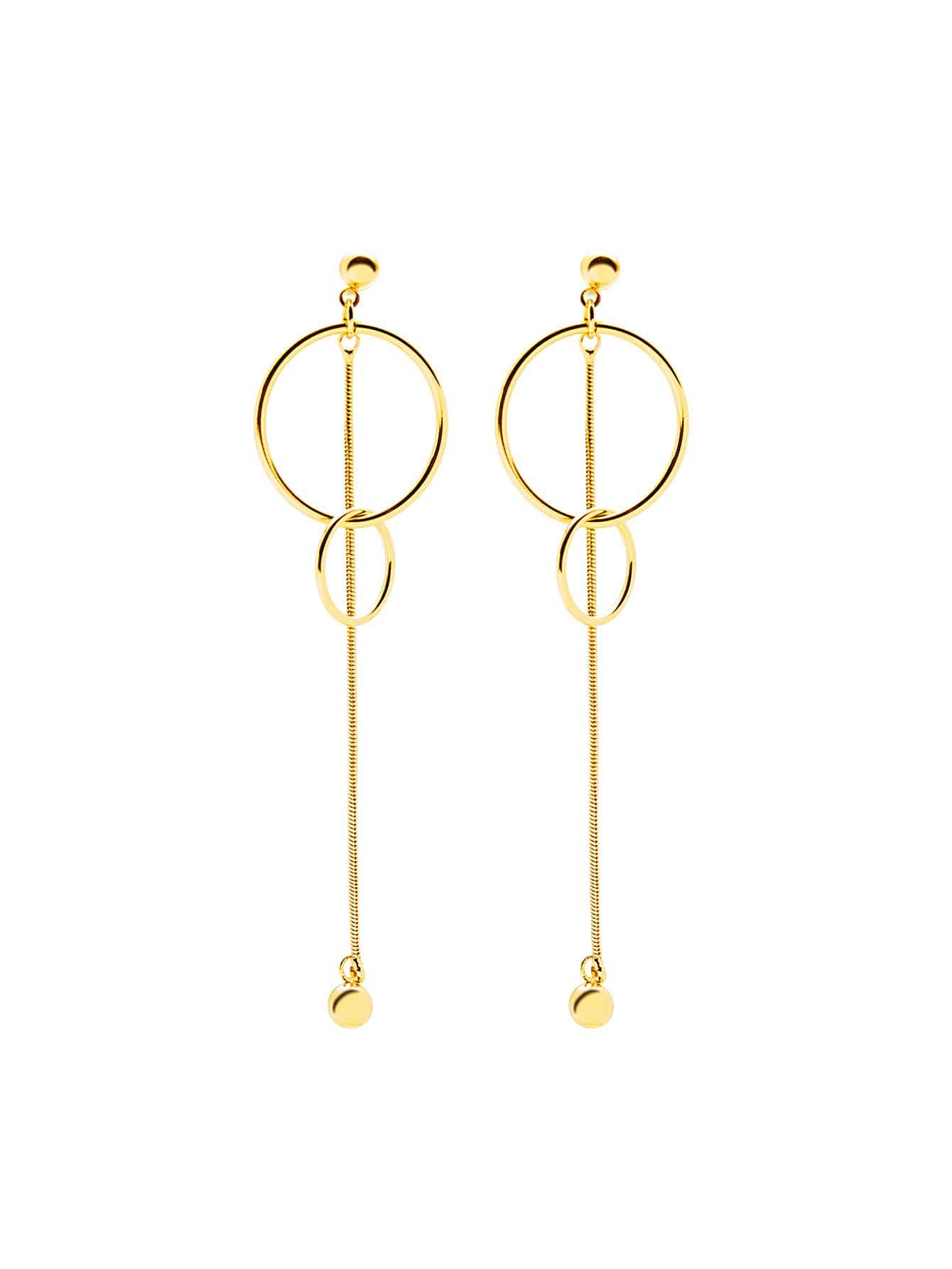 Metal Ball Detail Double Ring Drop Earrings