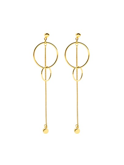 Metal Ball Detail Double Ring Drop Earrings