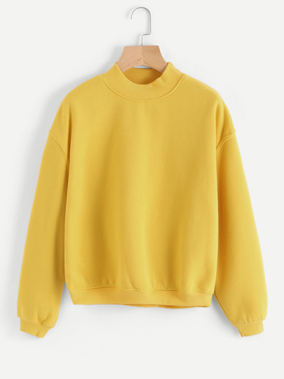 Ribbed Trim Drop Shoulder Sweatshirt