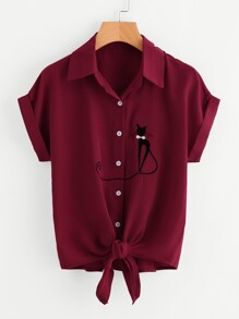 Cat Embroidered Knotted Hem Cuffed Shirt
