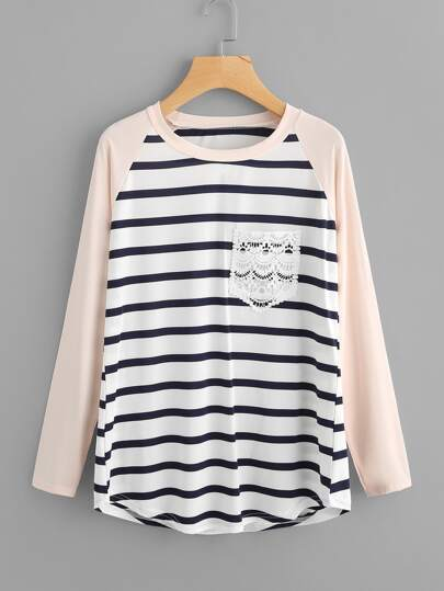 Contrast Raglan Sleeve Striped Lace Pocket Tee