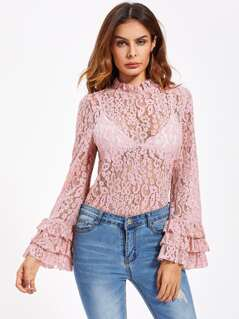 Layered Fluted Sleeve Floral Lace Top