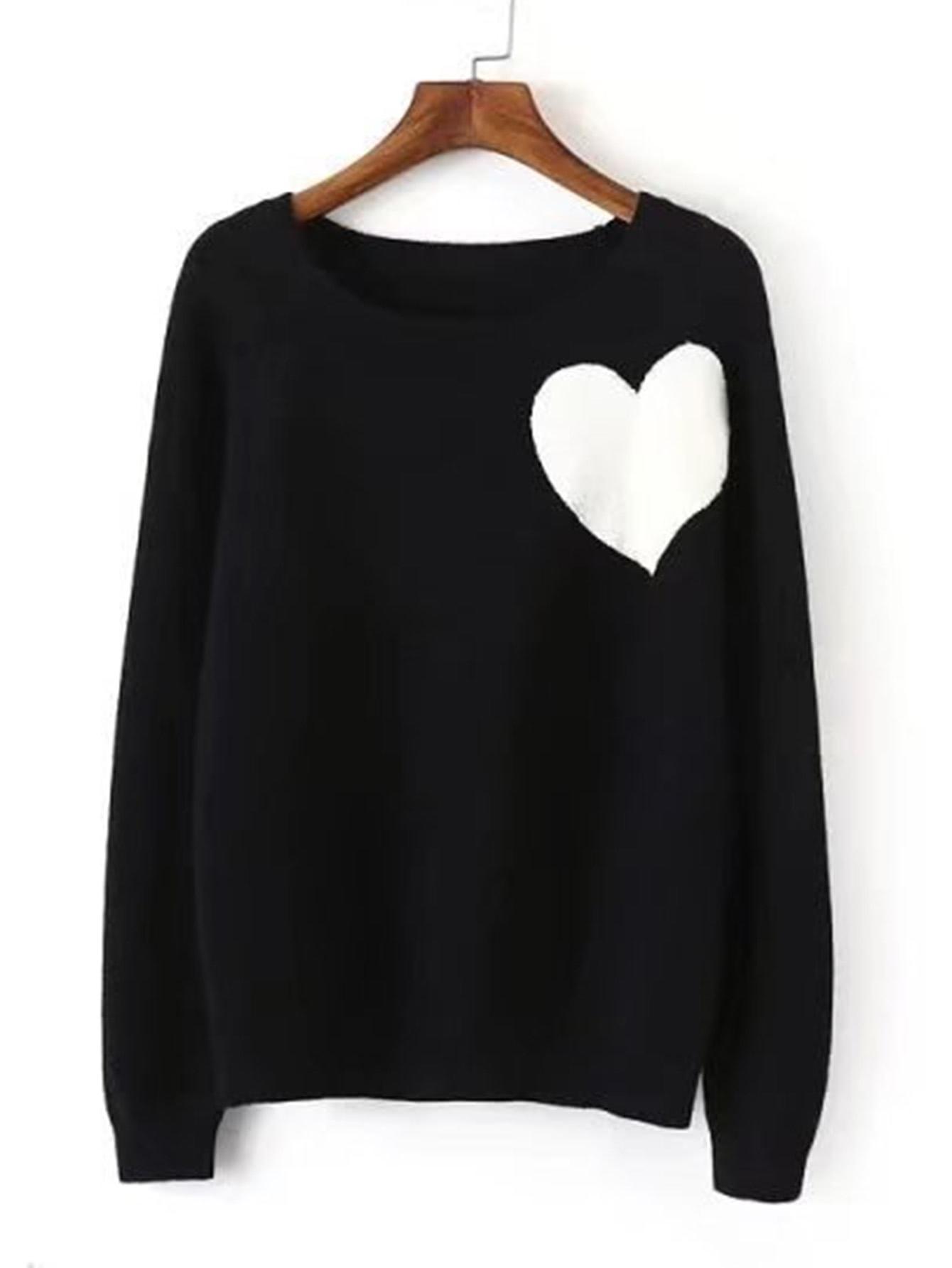 Contrast Heart Jumper Sweater sweater170829203