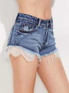 Lace Trim Frayed Mini Denim Shorts