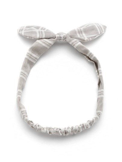 Knot Bow Gingham Print Headband