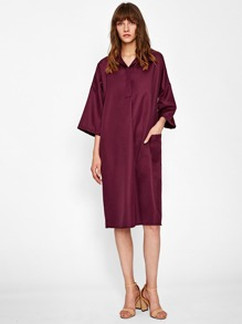 Symmetry Pocket Side Drop Shoulder Cocoon Dress