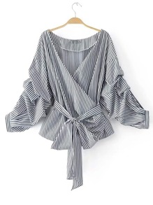 Striped Ruched Sleeve Self Tie Surplice Blouse