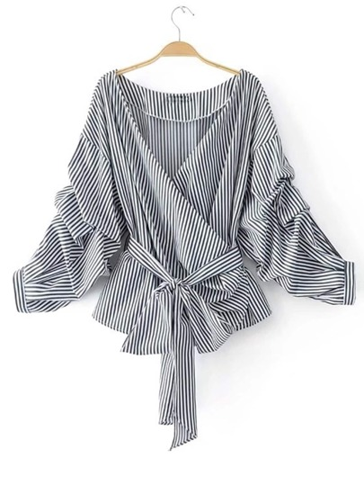 Buy Striped Ruched Sleeve Self Tie Surplice Blouse blouse170824206
