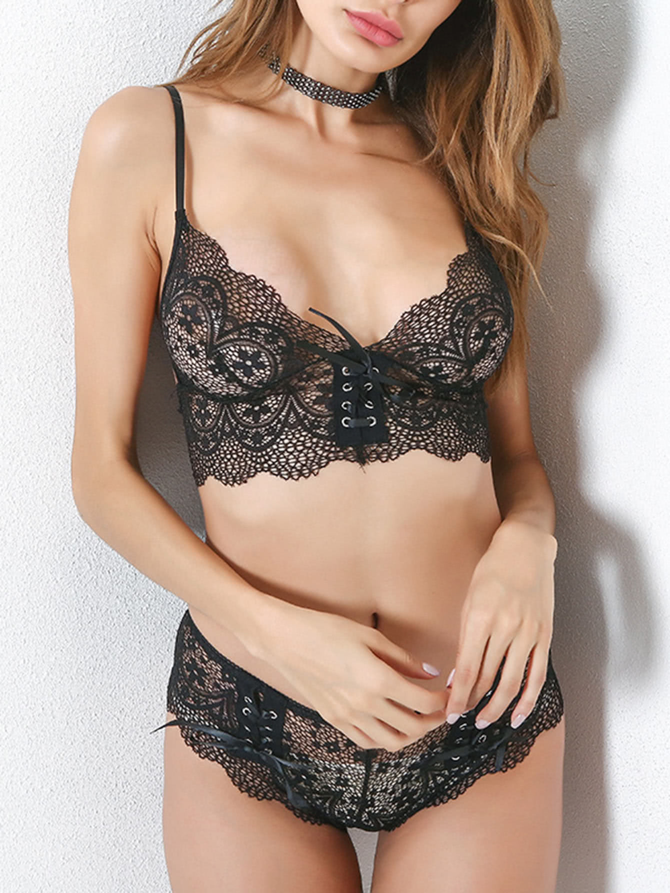 Lace Up Detail Scalloped Trim Lace Lingerie Set caged detail lace lingerie set