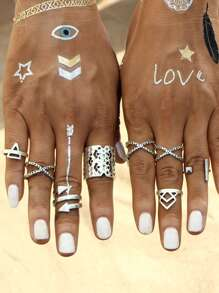 Sets de anillo multi forma huecos - plateado