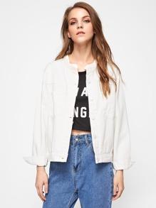 Pocket Front Drop Shoulder Denim Jacket