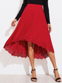 Scallop Laser Cut Dip Hem Skirt