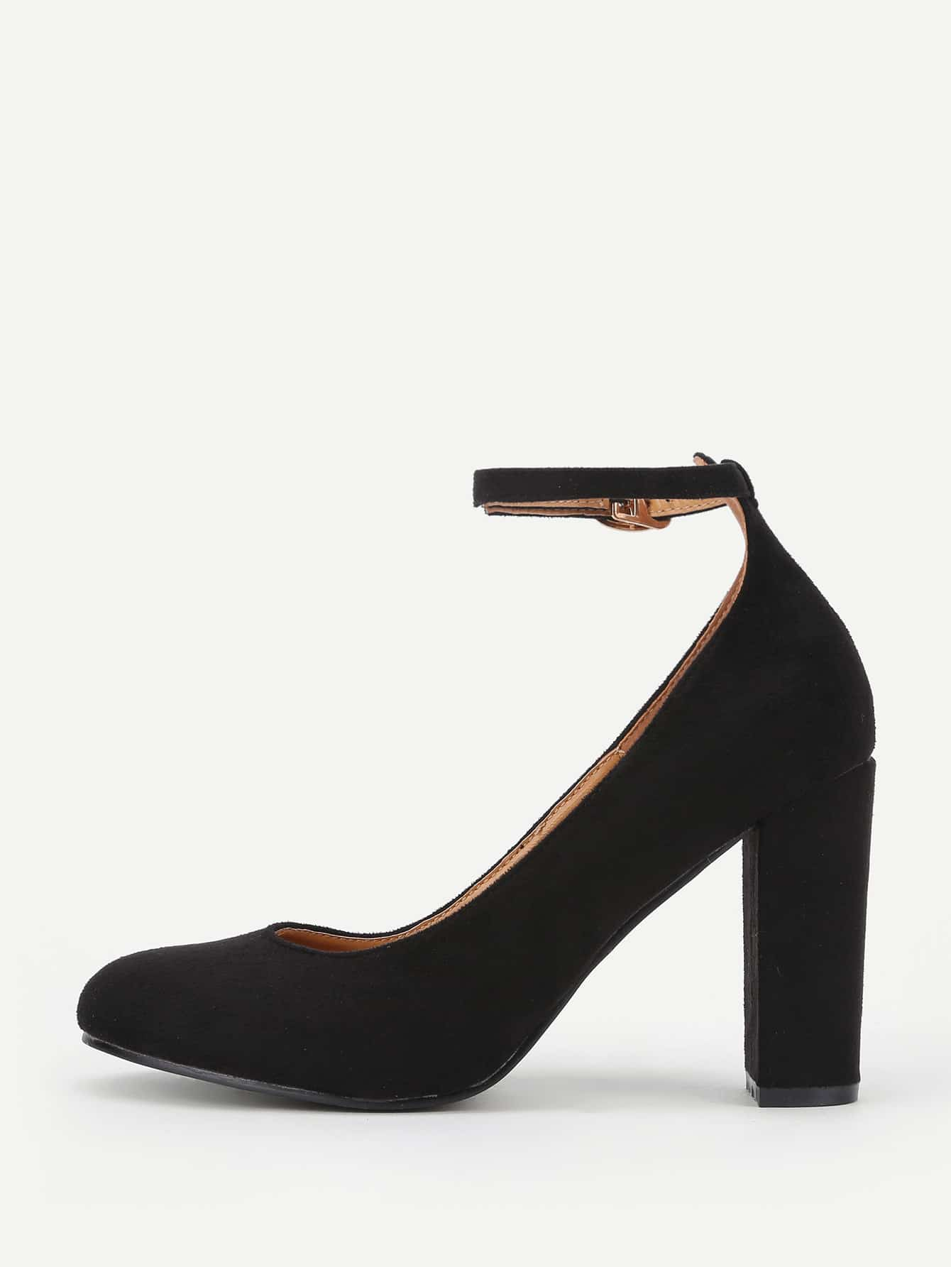 Image of Ankle Strap Block Heeled Shoes