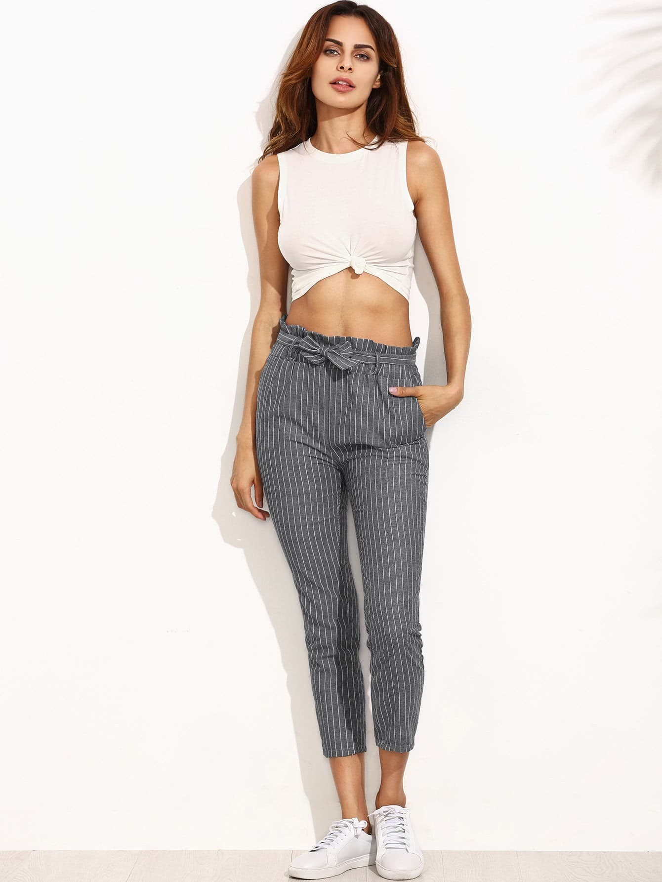 Pinstripe Frill Waist Self Tie Pants