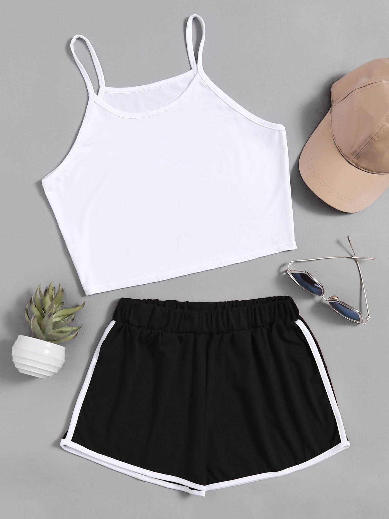 Crop Cami Top With Contrast Trim Shorts color block crop cami top with shorts