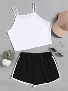 Camisole &Shorts découpé contrasté