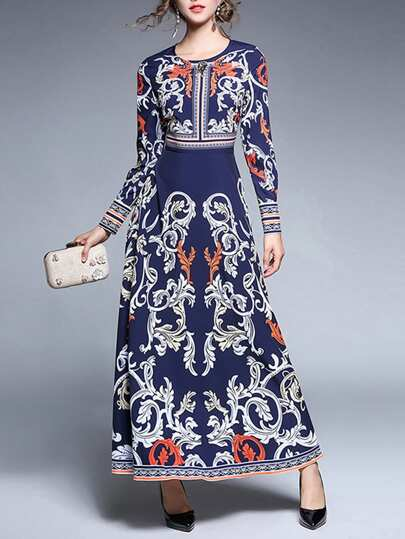 Porcelain Print Rhinestone Decoration Dress