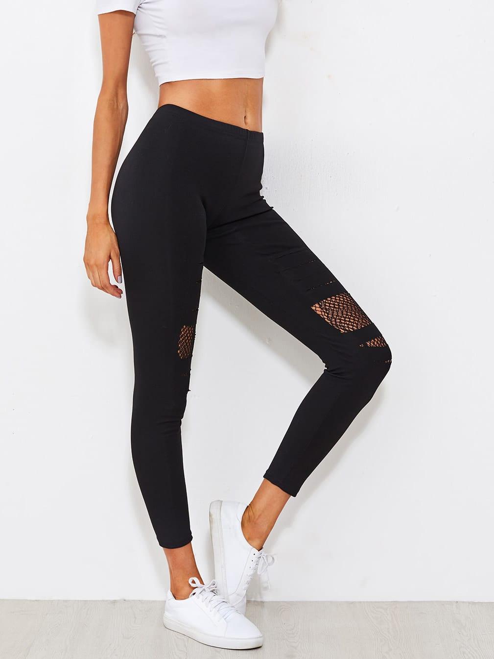 Fishnet Insert Ripped Leggings black slim ripped leggings