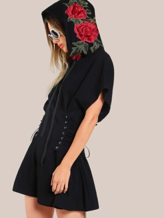3D Rose Patch Lace Up Dolman Hoodie Dress