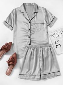 Contrast Piping Satin Pajama Set