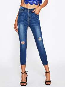 Bleach Wash Cropped Shredded Jeans