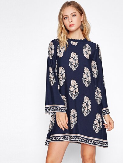 Frilled Neck Tie Back Kimono Sleeve Dress