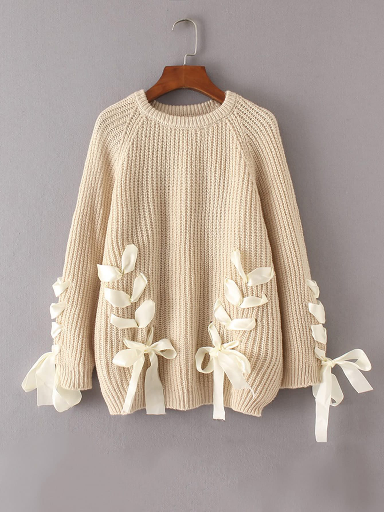 Lace Up Bow Tie Raglan Sleeve Sweater sweater170829210