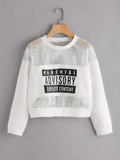 Hollow Fishnet Insert Letter Printed Sweatshirt