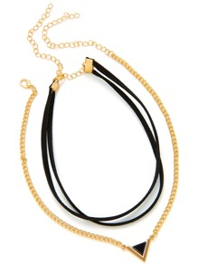 Contrast Triangle Pendant Necklace & Velvet Choker Set