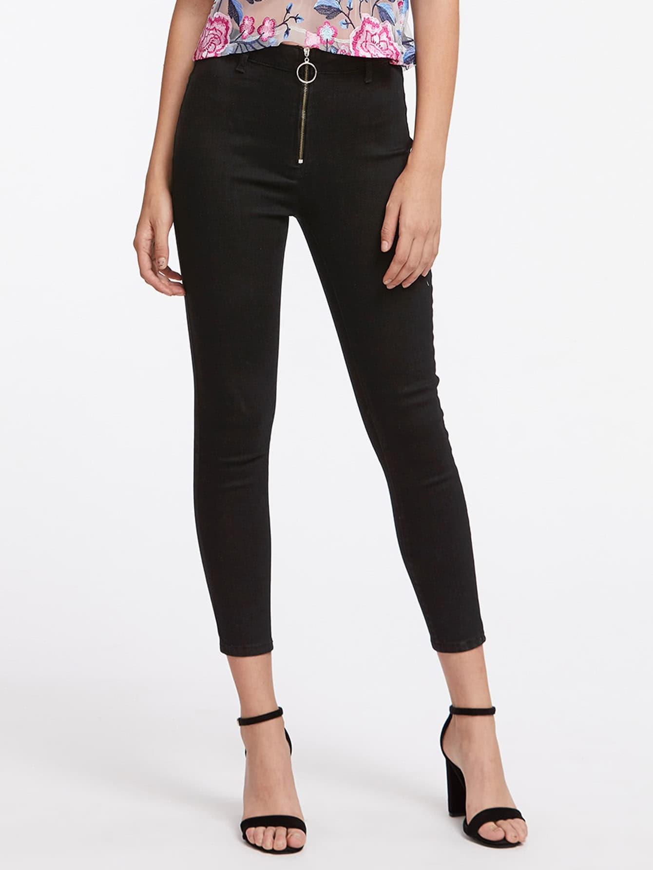 Exposed Zip Front Jeans EmmaCloth-Women Fast Fashion Online