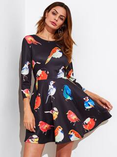 Allover Birds Print Fit & Flare Dress