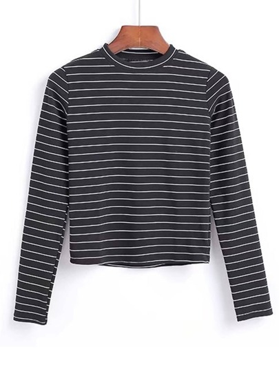 Crew Neck Contrast Striped Tee