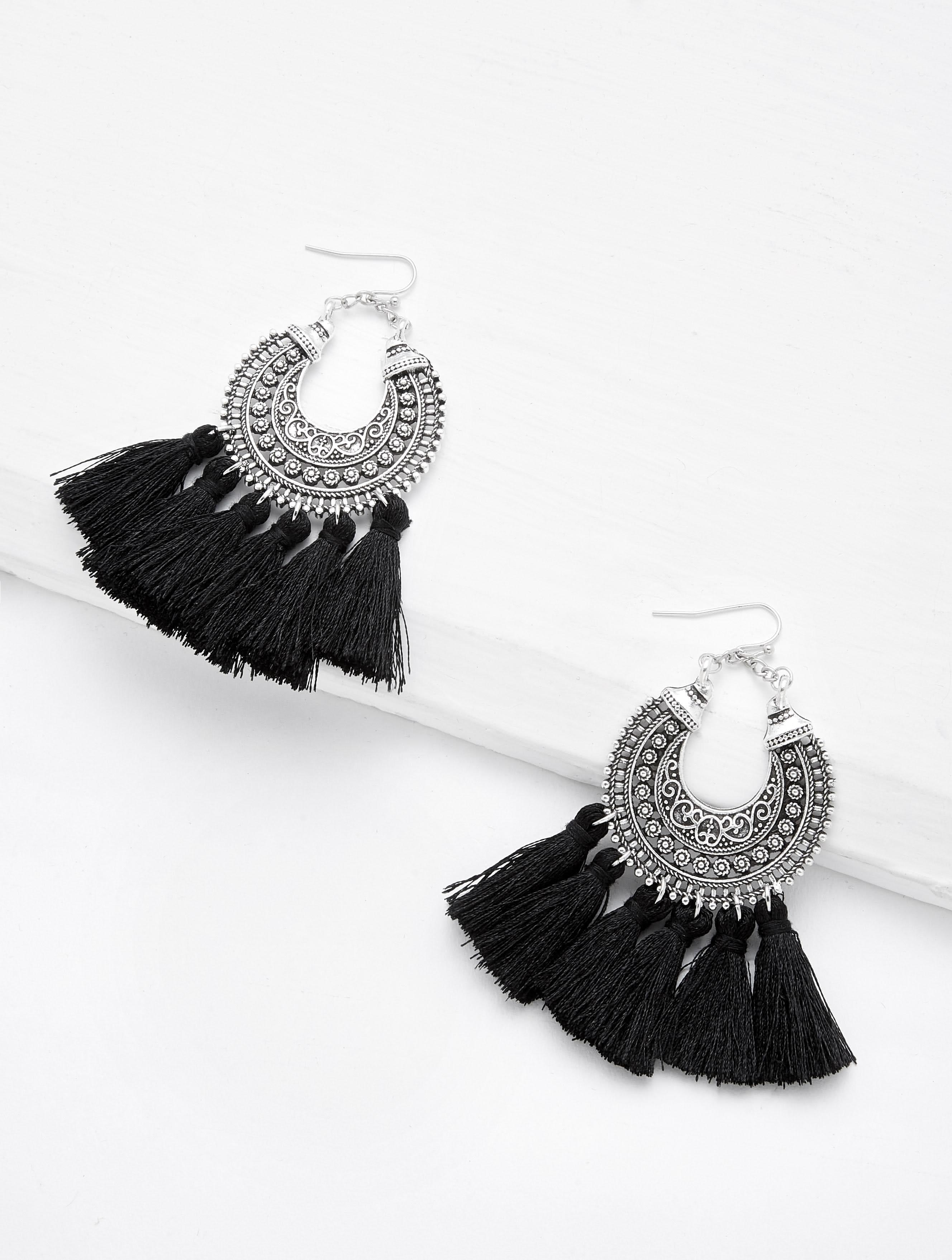 Circle Hoop Vintage Tassel Earrings vintage tassel drop hoop earrings