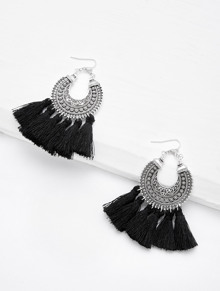 Circle Hoop Vintage Tassel Earrings