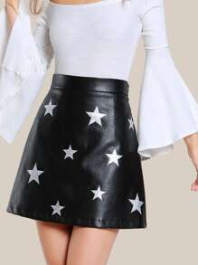 Star Patch Faux Leather Skirt