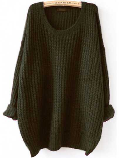Olive Green Drop Shoulder Textured Sweater