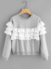 Sweat-shirt découpé contrasté à étages avec des plis