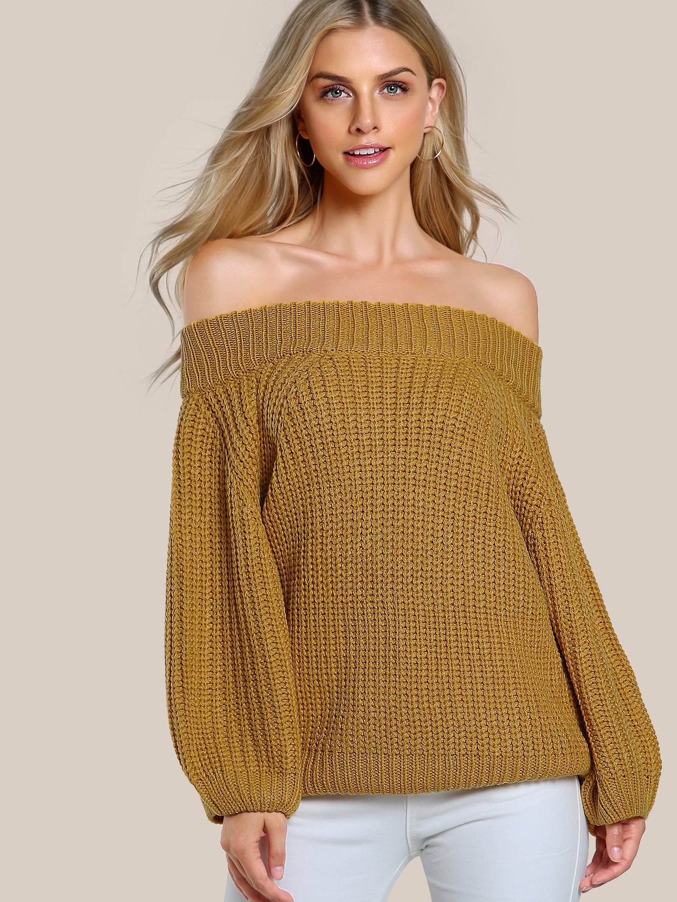 Ribbed Knitted Top MUSTARD