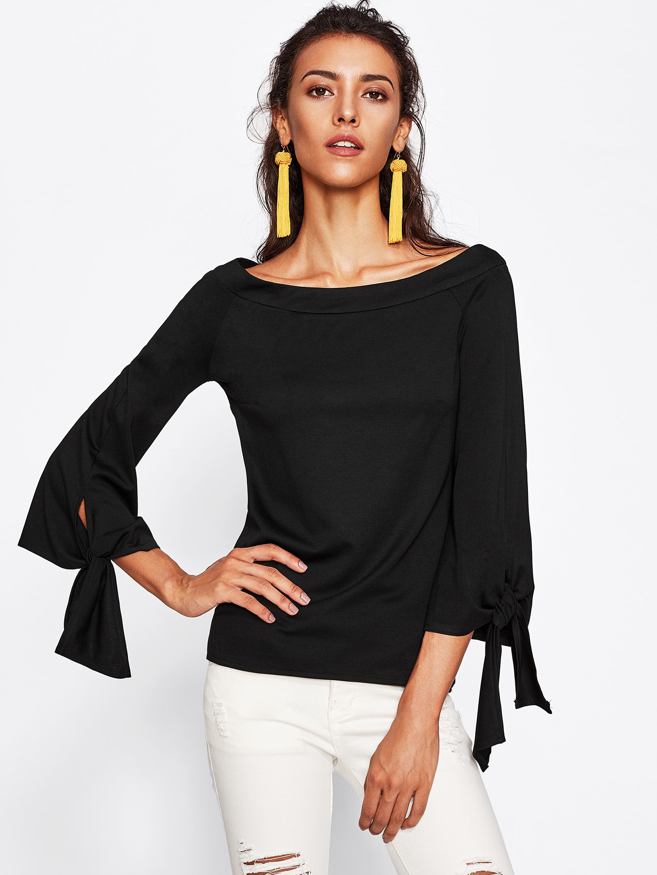 Boat Neckline Knot Detail Top pearl detail layered frill sleeve top