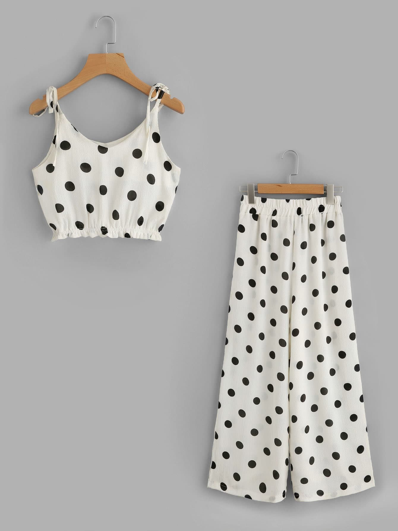 Polka Dot Tie-Strap Crop Top With Wide Leg Pants bow tie side wide leg pants