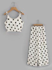Polka Dot Tie-Strap Crop Top With Wide Leg Pants
