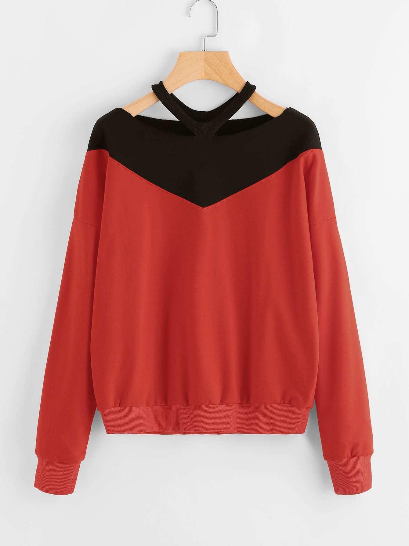 Contrast Panel Ripped Neck Sweatshirt