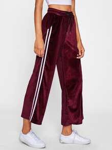 Striped Tape Side Velvet Wide Leg Pants
